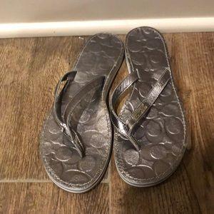 Coach Poppy Metallic Wilma Flip Flop Sandal 8